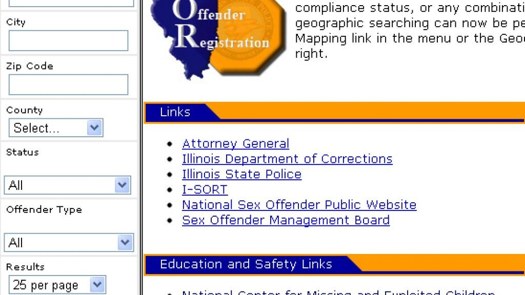 State of illinois sex offender registry