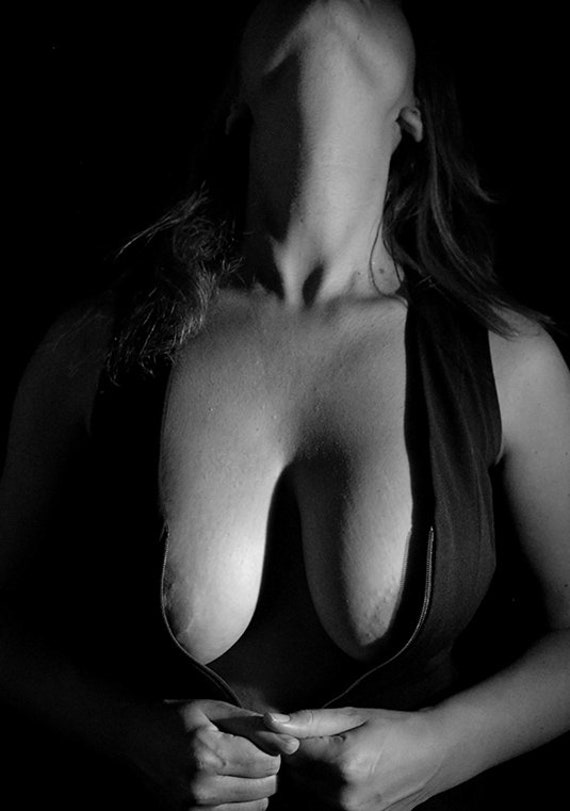 Women breast nude white and black photo